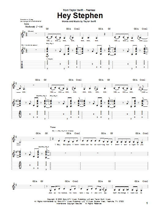 Tablature guitare Hey Stephen de Taylor Swift - Tablature Guitare