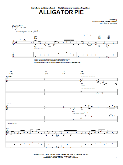 Tablature guitare Alligator Pie de Dave Matthews Band - Tablature Guitare
