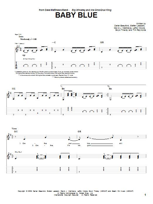 Tablature guitare Baby Blue de Dave Matthews Band - Tablature Guitare