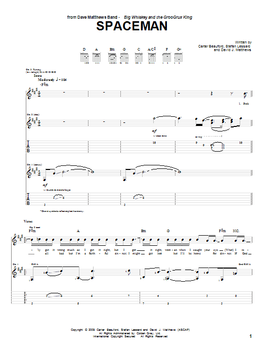 Spaceman Sheet Music