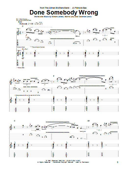 Tablature guitare Done Somebody Wrong de The Allman Brothers Band - Tablature Guitare