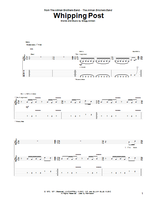 Tablature guitare Whipping Post de The Allman Brothers Band - Tablature Guitare