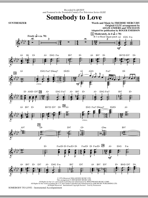 Somebody To Love (arr. Roger Emerson) - Synthesizer (Choir Instrumental Pak)