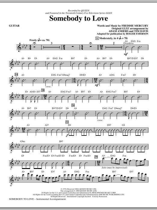 Somebody To Love (arr. Roger Emerson) - Guitar (Choir Instrumental Pak)