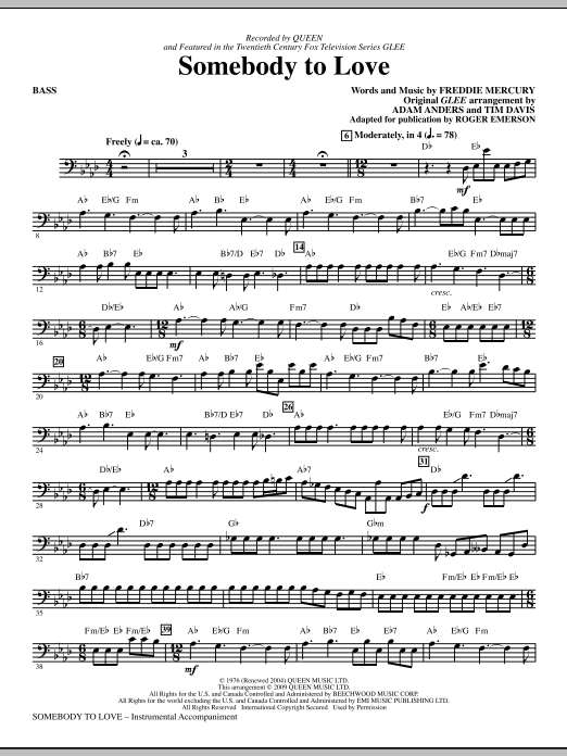 Somebody To Love (arr. Roger Emerson) - Bass (Choir Instrumental Pak)