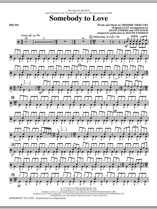 Somebody To Love (arr. Roger Emerson) - Drums (Choir Instrumental Pak)