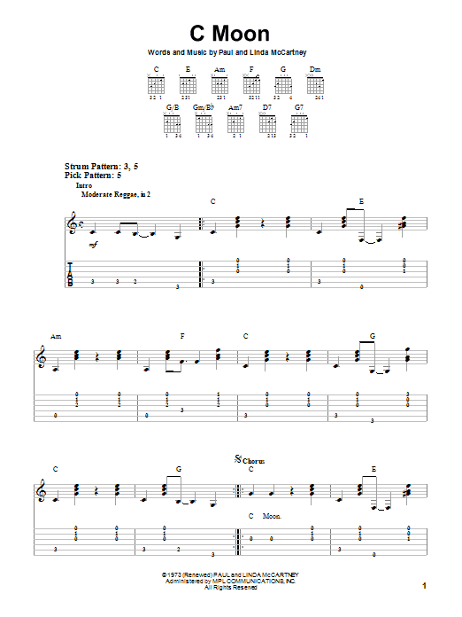 C Moon (Easy Guitar Tab)