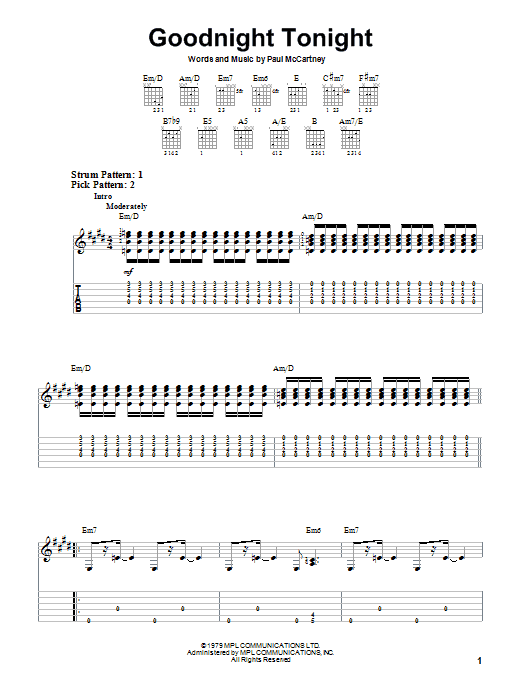 Goodnight Tonight (Easy Guitar Tab)