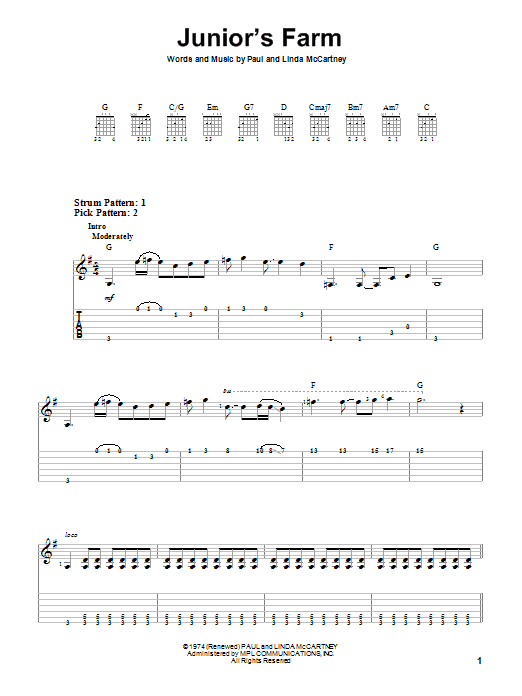 Junior's Farm (Easy Guitar Tab)