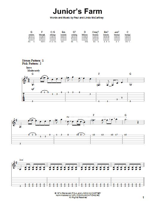 Junior's Farm (Easy Guitar Tab)