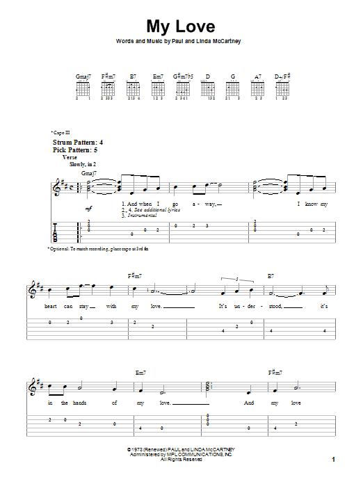 My Love (Easy Guitar Tab)
