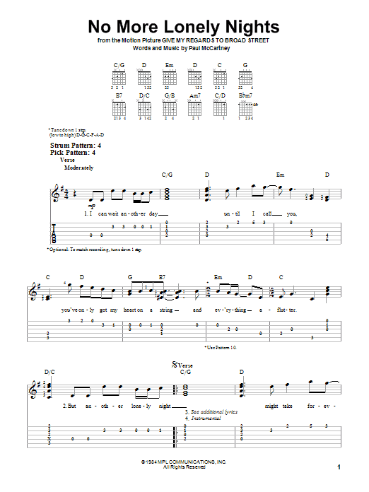 No More Lonely Nights (Easy Guitar Tab)