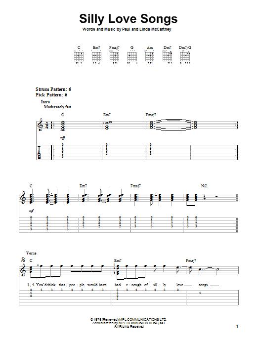 Silly Love Songs (Easy Guitar Tab)