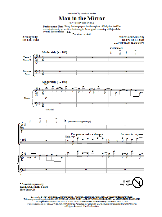 Man In The Mirror (arr. Ed Lojeski) Sheet Music