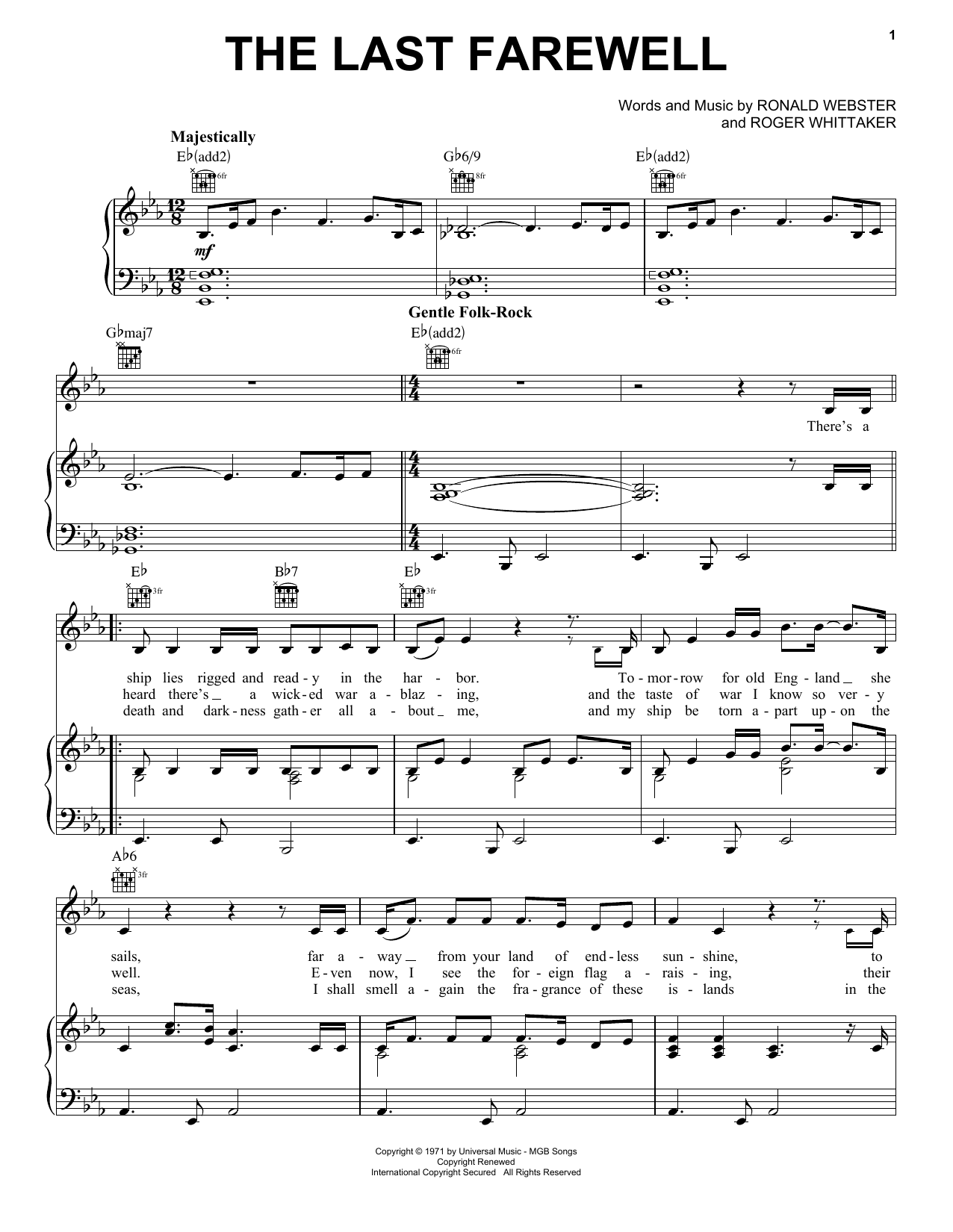 The Last Farewell Sheet Music