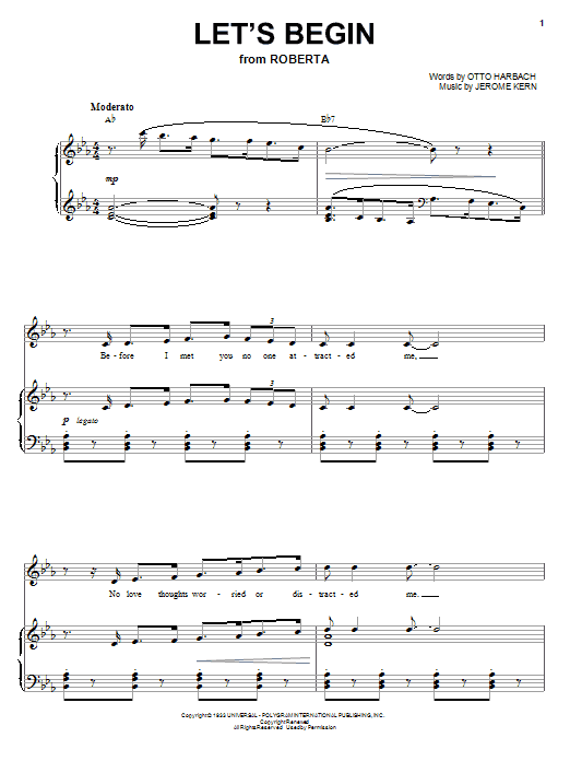 Let's Begin Sheet Music