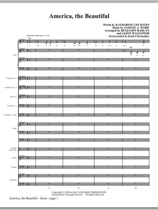 America, The Beautiful (COMPLETE) sheet music for orchestra/band (Special) by Benjamin Harlan, Katherine Lee Bates and Samuel Augustus Ward. Score Image Preview.