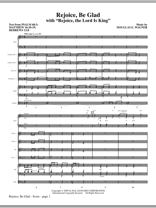 Rejoice, Be Glad! (with Rejoice, The Lord Is King) (COMPLETE) sheet music for orchestra/band (Special) by Douglas E. Wagner. Score Image Preview.