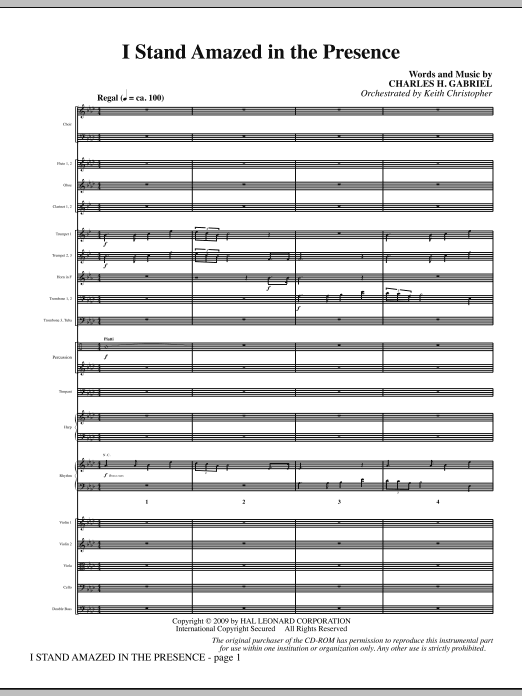 I Stand Amazed In The Presence (COMPLETE) sheet music for orchestra/band (Orchestra) by Charles H. Gabriel and Keith Christopher. Score Image Preview.