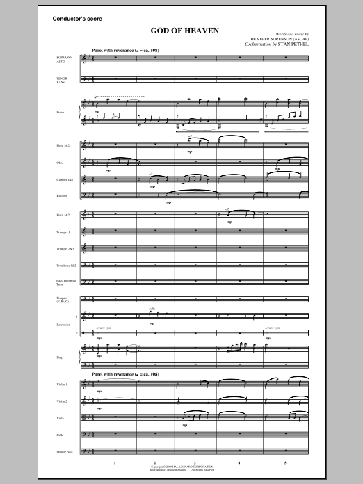 God Of Heaven (COMPLETE) sheet music for orchestra/band (Orchestra) by Heather Sorenson. Score Image Preview.