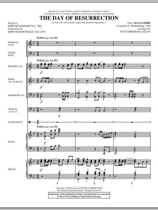 The Day Of Resurrection (COMPLETE) sheet music for orchestra/band (Brass) by Patti Drennan. Score Image Preview.