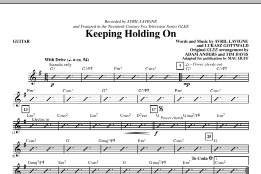 Keep Holding On - SATB - from Glee Sheet Music by Avril Lavigne ...