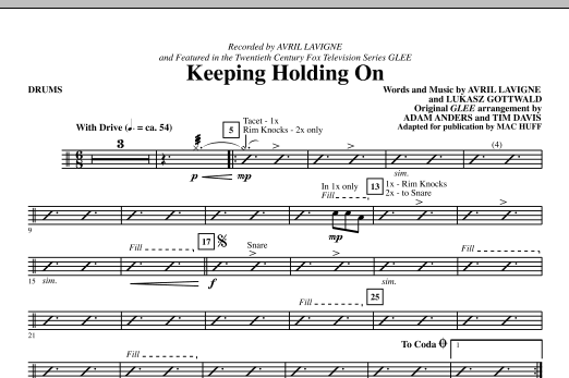 Keep Holding On - Drums - Sheet Music to Download