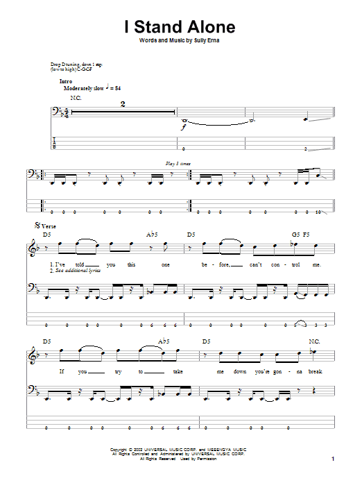 I Stand Alone (Bass Guitar Tab)
