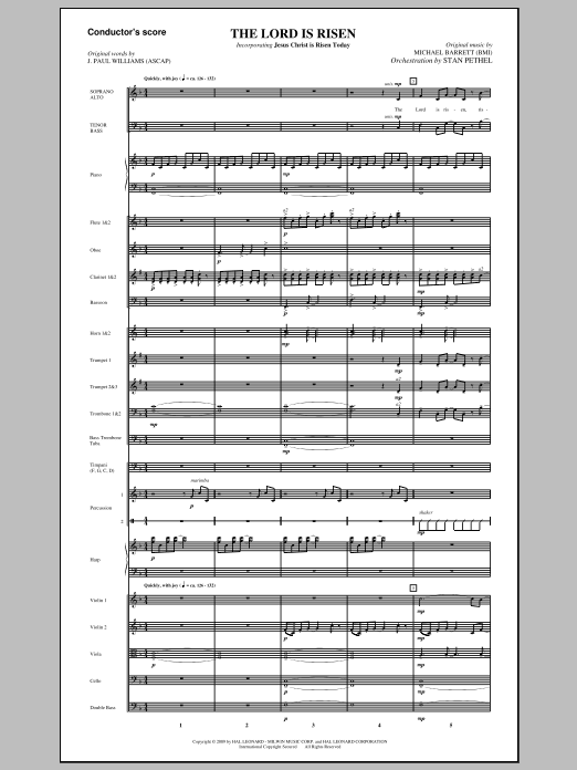 The Lord Is Risen (COMPLETE) sheet music for orchestra/band (Orchestra) by J. Paul Williams and Michael Barrett. Score Image Preview.