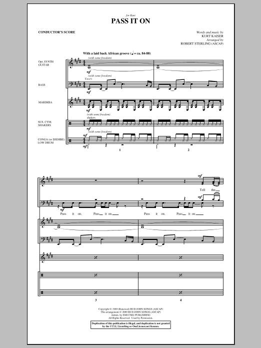 Pass It On - Score Sheet Music