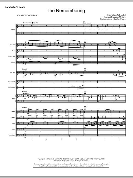The Remembering (COMPLETE) sheet music for orchestra/band (Orchestra) by Joseph M. Martin, J. Paul Williams and Miscellaneous. Score Image Preview.