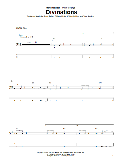 Tablature guitare Divinations de Mastodon - Tablature Basse