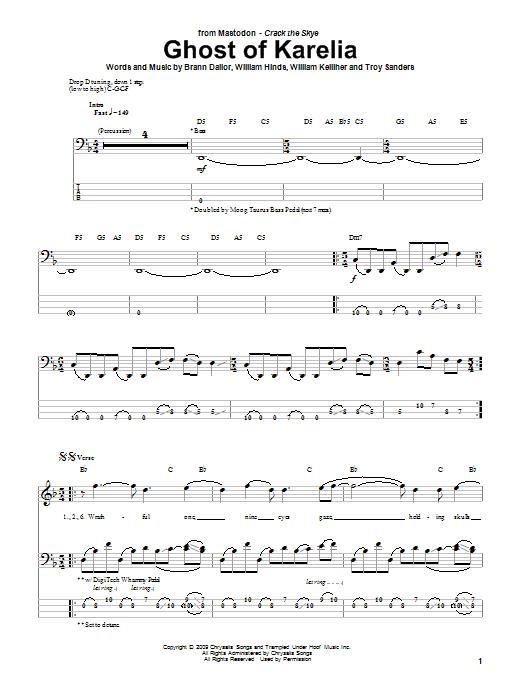 Tablature guitare Ghost Of Karelia de Mastodon - Tablature Basse