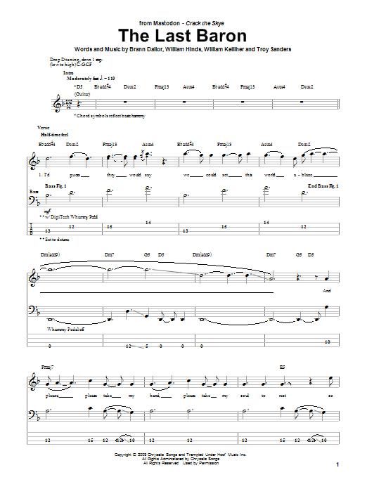 Tablature guitare The Last Baron de Mastodon - Tablature Basse