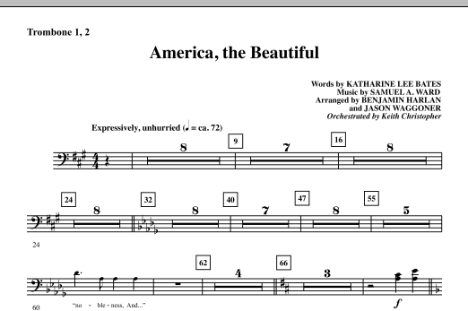 America, The Beautiful - Trombone 1 & 2 Sheet Music