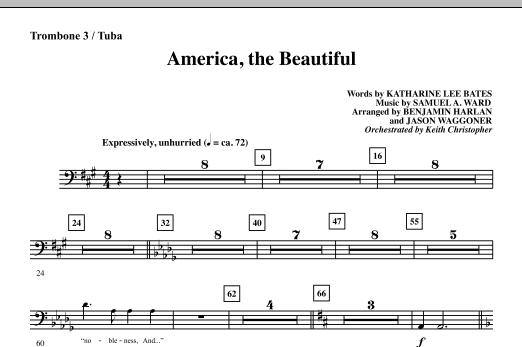 America, The Beautiful - Trombone 3/Tuba Sheet Music