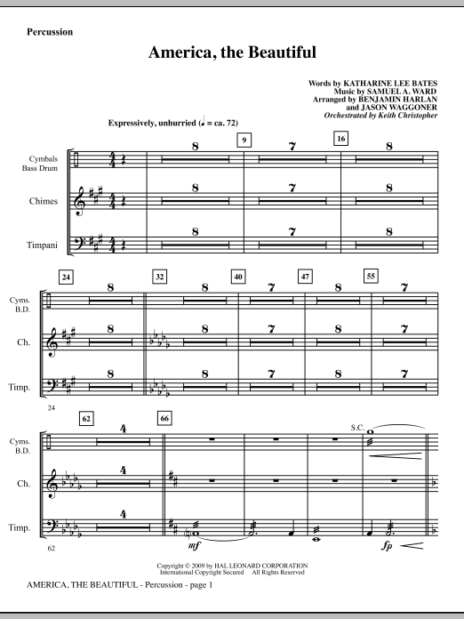 America, The Beautiful - Percussion Sheet Music