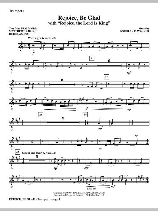 Rejoice, Be Glad! (with Rejoice, The Lord Is King) - Bb Trumpet 1 (Choir Instrumental Pak)