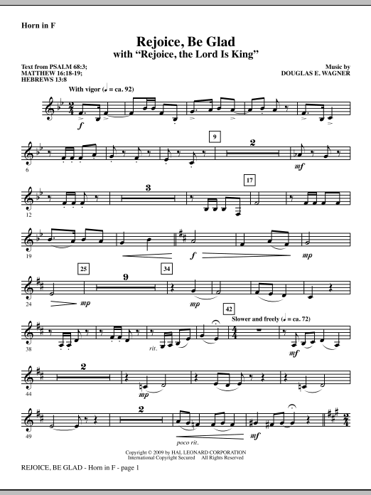 Rejoice, Be Glad! (with Rejoice, The Lord Is King) - F Horn Sheet Music