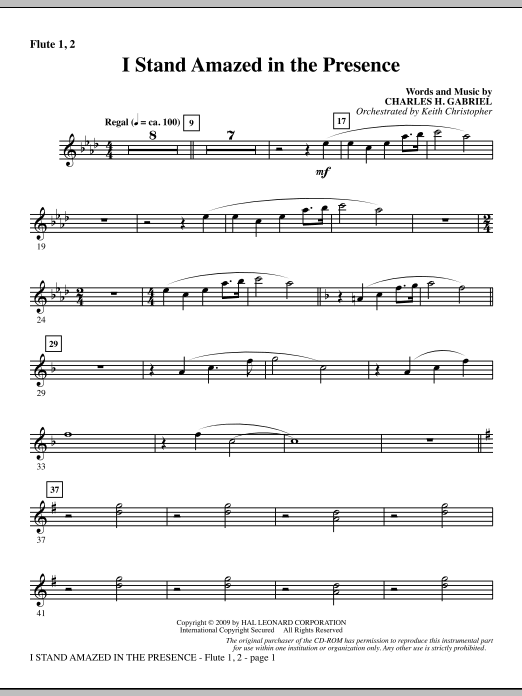 I Stand Amazed In The Presence - Flute 1 & 2 (Choir Instrumental Pak)