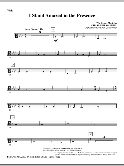 I Stand Amazed In The Presence - Viola (Choir Instrumental Pak)