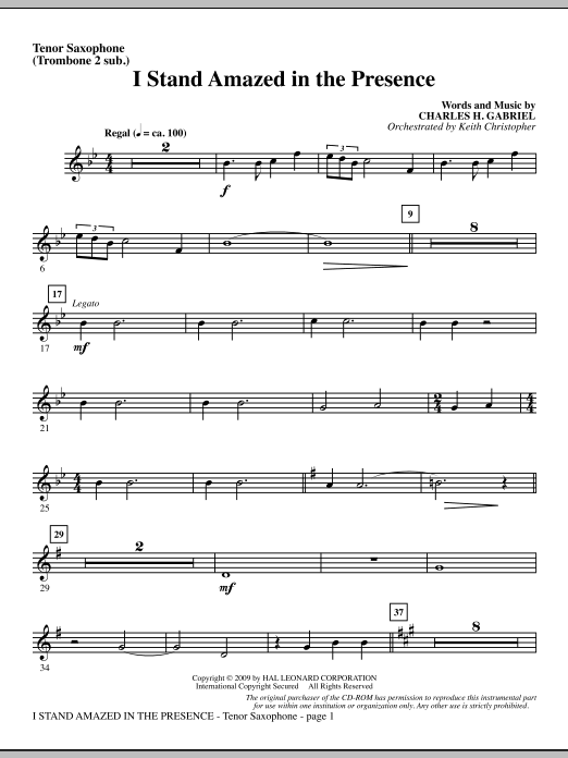 I Stand Amazed In The Presence - Tenor Sax (sub. Tbn 2) (Choir Instrumental Pak)
