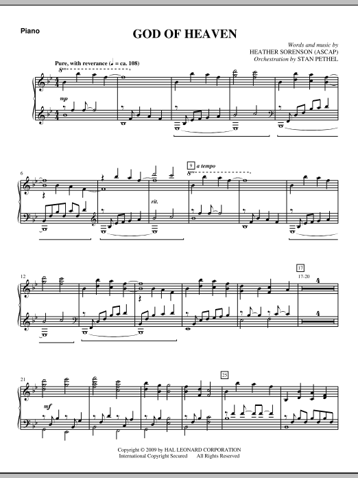 God Of Heaven - Piano (Choir Instrumental Pak)