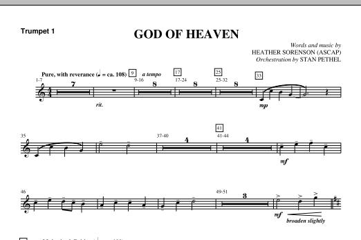 God Of Heaven - Bb Trumpet 1 (Choir Instrumental Pak)