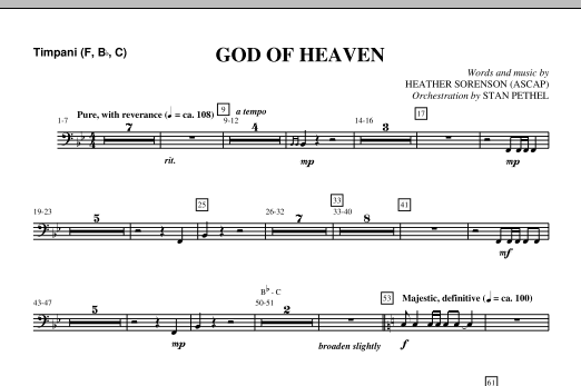 God Of Heaven - Timpani (Choir Instrumental Pak)