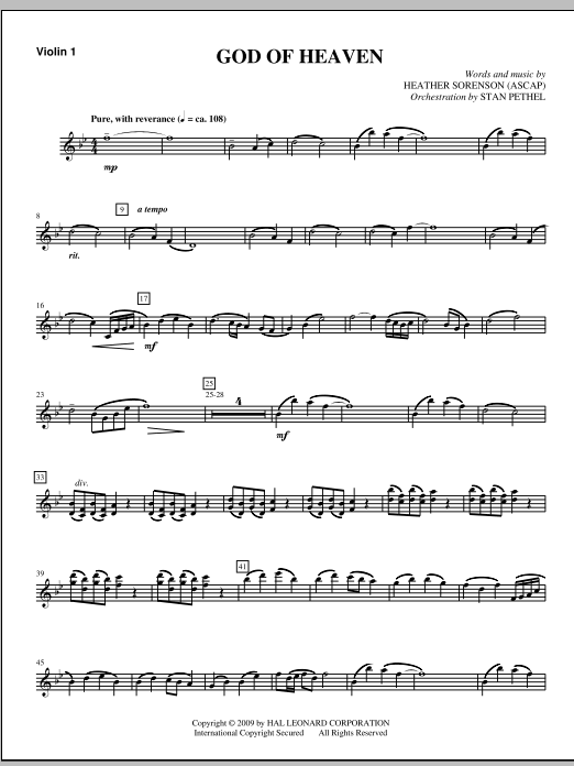 God Of Heaven - Violin 1 (Choir Instrumental Pak)
