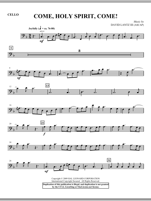 Come, Holy Spirit, Come! - Cello (Choir Instrumental Pak)
