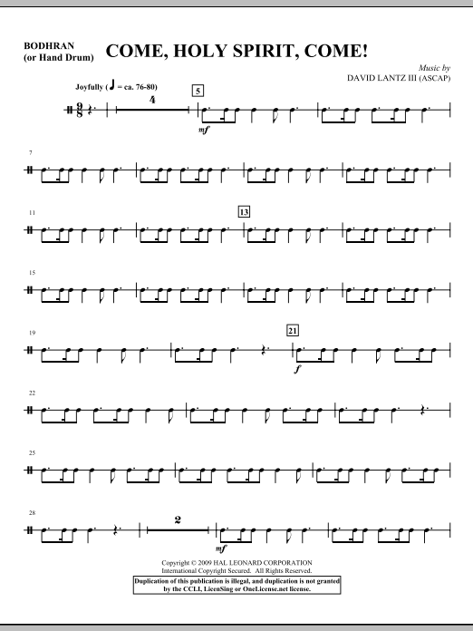 Come, Holy Spirit, Come! - Hand Drum Sheet Music
