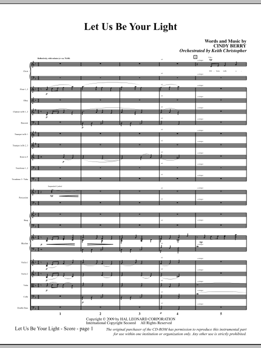 Let Us Be Your Light (COMPLETE) sheet music for orchestra/band (Orchestra) by Cindy Berry. Score Image Preview.