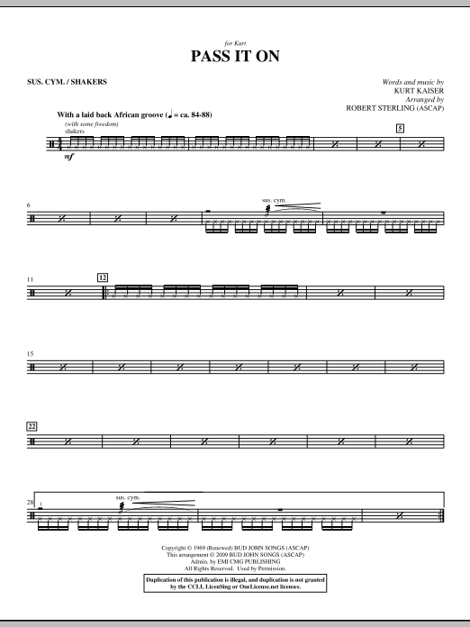 Pass It On - Cymbals Sheet Music